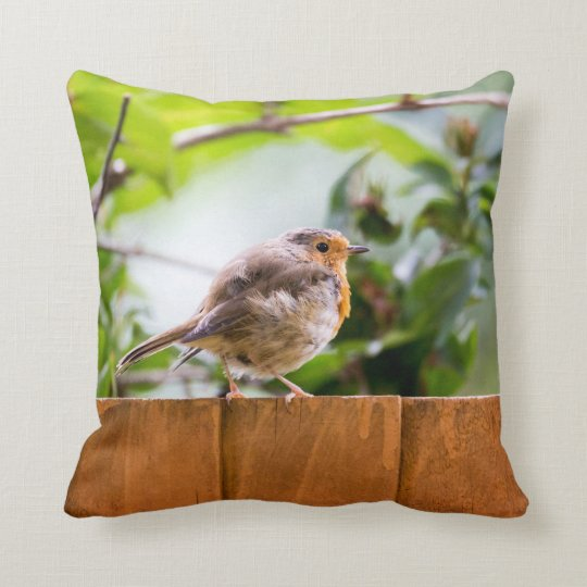 Pretty Little Robin Throw Pillow