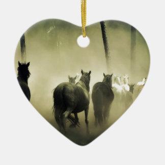 PRETTY LOOKING HORSES CERAMIC HEART ORNAMENT