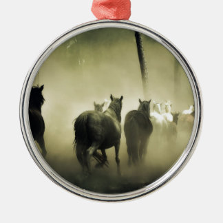 PRETTY LOOKING HORSES Silver-Colored ROUND ORNAMENT