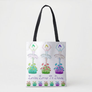 """Pretty """"Love To Dance"""" Tote Bag, personalised"""
