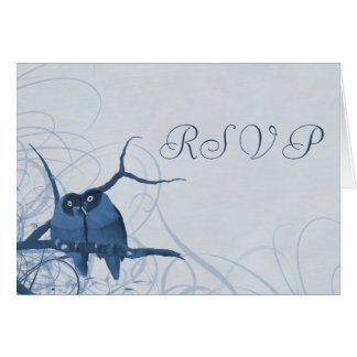 Pretty Lovebirds RSVP Notecards in Shades of Blue Card