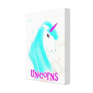 Pretty Magical Mythical Unicorn Illustration Canvas Print