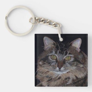 Pretty Maine Coon Kitty Cat Keychain