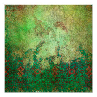 Pretty Marbled Green and Rust Grunge Pattern Perfect Poster