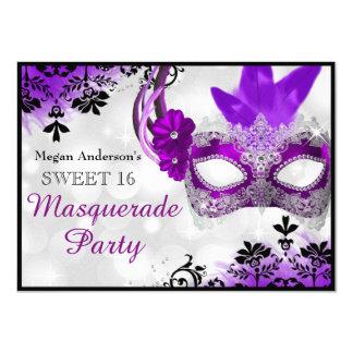 "Pretty Mask & Damask Purple Masquerade Sweet 16 4.5"" X 6.25"" Invitation Card"