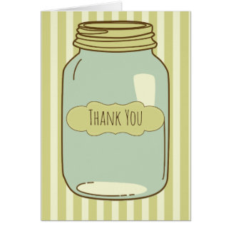 Pretty Mason Jar Thank You Card Green Stripes