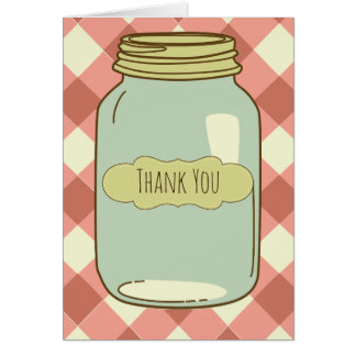 Pretty Mason Jar Thank You Card Red Gingham