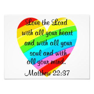 PRETTY MATTHEW 22:37 LOVE HEART DESIGN PHOTO PRINT
