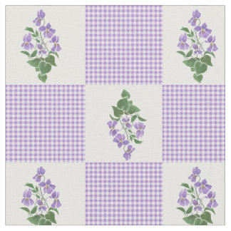 Pretty Mauve Faux Patchwork Sweet Violets Fabric