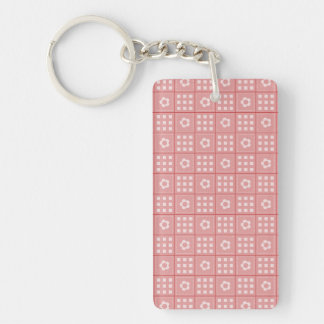 Pretty Mauve Flower Patchwork Quilt Pattern Double-Sided Rectangular Acrylic Keychain