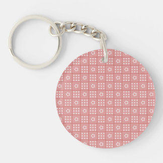 Pretty Mauve Flower Patchwork Quilt Pattern Single-Sided Round Acrylic Keychain