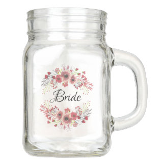 Pretty Mauve Pink Floral Display Glass Mason Jar