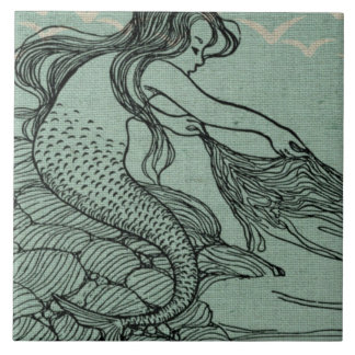 Pretty Mermaid On The Sea Shore Nautical Scene Tile