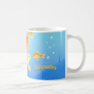 Pretty Mermaid with goldfish under water Coffee Mug