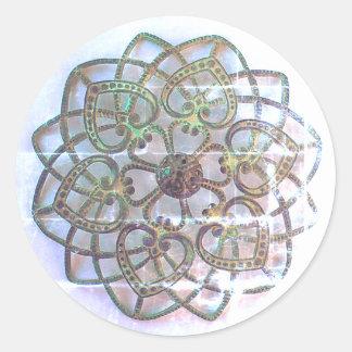 Pretty metalwork ornate filigree lacy pattern round sticker