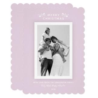 Pretty Millennial Pink Minimal Christmas Photo Card