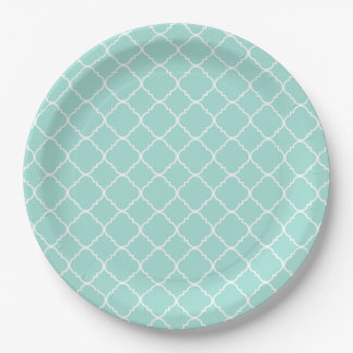 Pretty Mint and White Quatrefoil Paper Plate