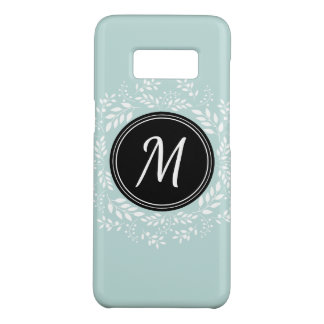 Pretty Mint Blue Floral Wreath Custom Monogram Case-Mate Samsung Galaxy S8 Case