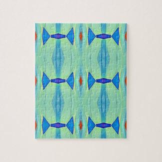 Pretty Mint Green Blue Pastel Pattern Jigsaw Puzzle