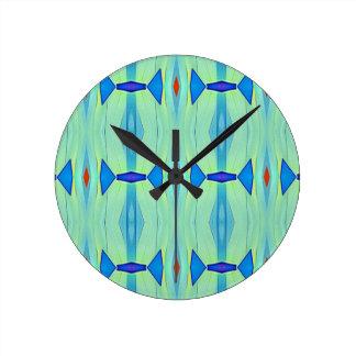 Pretty Mint Green Blue Pastel Pattern Round Clock