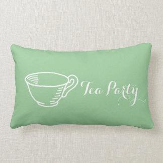 Pretty Mint Green Tea Party Pattern Lumbar Pillow
