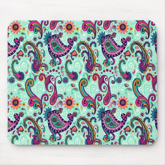 Pretty Mint Paisley Mouse Pad