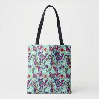 Pretty Mint Paisley Tote Bag