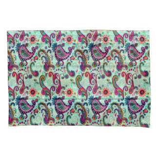 Pretty Mint Pink Paisley Bohemian Pattern Pillowcase