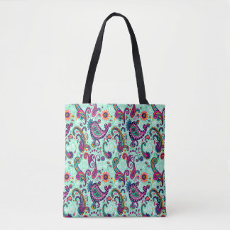 Pretty Mint Pink Paisley Bohemian Pattern Tote Bag