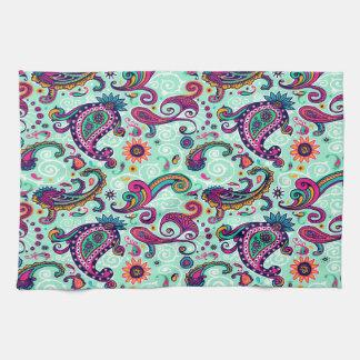 Pretty Mint Pink Paisley Bohemian Pattern Towel