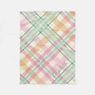 pretty mint pink pastels tartan plaid fleece blanket