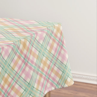 pretty mint pink pastels tartan plaid tablecloth