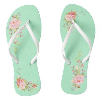 Pretty Mint Watercolor Posies Flip Flops