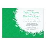 "Pretty Modern Emerald Green Damask Bridal Shower 5"" X 7"" Invitation Card"