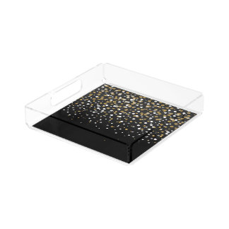 Pretty modern girly faux gold glitter confetti acrylic tray
