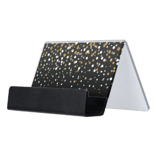 Girly business card holders zazzle pretty modern girly faux gold glitter confetti desk business card holder colourmoves