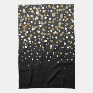 Pretty modern girly faux gold glitter confetti kitchen towel