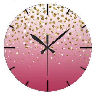 Pretty modern girly faux gold glitter confetti large clock