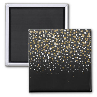 Pretty modern girly faux gold glitter confetti magnet