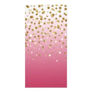 Pretty modern girly faux gold glitter confetti photo card