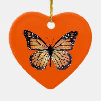 Pretty Monarch Butterfly on Orange Ceramic Ornament