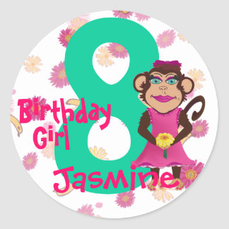 Pretty Monkey Birthday Age Stickers