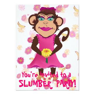 Pretty Monkey Slumber Party Invitations