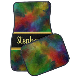 Pretty monogram abstract funky colorful design car mat