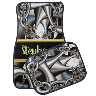 Pretty monogram abstract silver chains in Swirl Car Mat