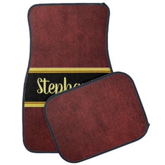 Pretty monogram dark maroon cloth material fabric car mat