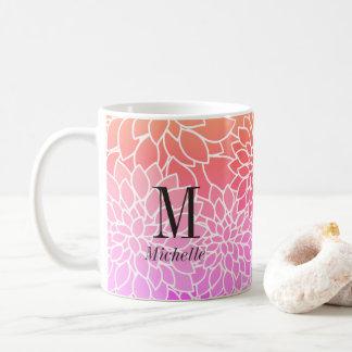 Pretty Monogram Flower Pattern White Coffee Mug