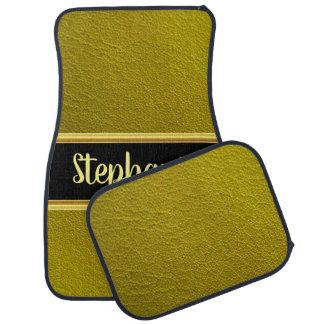 Pretty monogram greenish leather design car mat