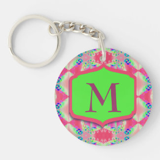 Pretty Monogram Pink Green Pattern Keychain