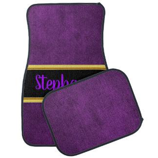 Pretty monogram purple cloth material fabric car mat